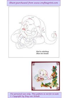 ED112 Christmas snowman on Craftsuprint designed by Emy van Schaik - Stitching with beads - Now available for download!