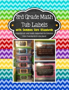3rd Grade Math Tub Labels (with Common Core Standards)