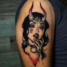 Satanic Tattoos, Creepy Tattoos, Cute Tattoos, Beautiful Tattoos, Anime Tattoos, Body Art Tattoos, Girl Tattoos, Sleeve Tattoos, Girl Stomach Tattoos