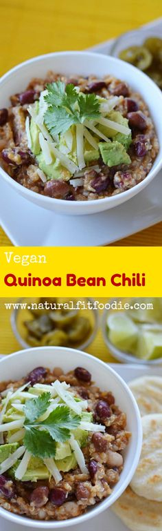 This Vegan Quinoa Bean Chili is hearty and filling enough to satisfy even the biggest meat lover out there! Perfect for Meatless Monday.