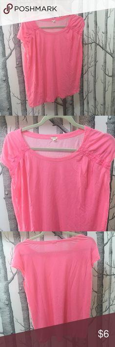 JCrew Swoop Tee JCrew Swoop Tee.  Item 42484.  100% Cotton.  Excellent Condition. Neon Pink. J. Crew Tops Tees - Short Sleeve