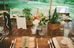 Love the simplicity of these long tables | Pennsylvania Backyard Wedding: Katie + Ryan