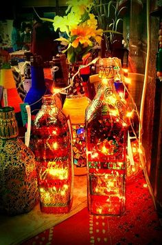 Hand painted bottles with lights