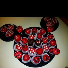 Minnie Mouse themed cake bites on styrofoam circles.  i would make chocolate covered strawberries