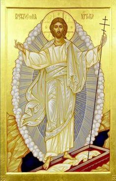 Icon of the Holy and Glorious Resurrection of Christ. Images Of Christ, Religious Images, Religious Icons, Religious Art, Christ Is Risen, Religion Catolica, Saint Esprit, Byzantine Icons, Holy Week