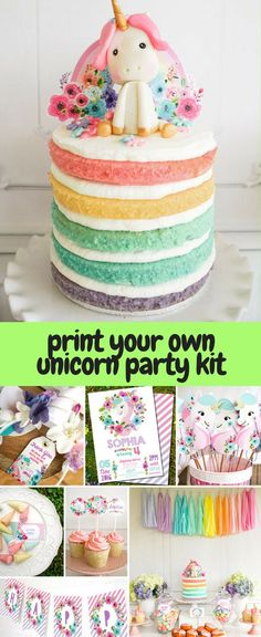 Print your own unicorn party kit. Party decorations, cake and cupcake toppers, invitations, favors, banner. Printable, instant download. #unicorn #party #birthdaytheme #partytheme #rainbow #printable #decorations #invitations #caketopper #cupcaketopper #affiliate #etsy