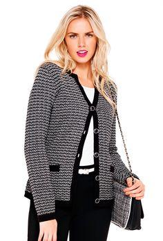 Textured Knit Jacket #longtallsally #tallfashion #tallwomen #tallclothing #talljumper #monochrome #blackandwhite