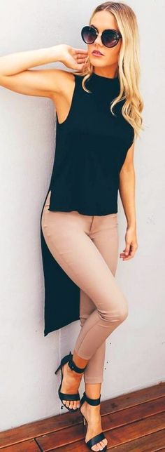 #spring #fashion #outffitideas |High & Low Black   Nude