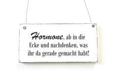 BÖSE HORMONE Schild Dekoschild Shabby Holz von DÖRPKIND auf DaWanda.com