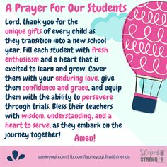 Back-to-School Prayers for Teachers, Students and Families. back-to-school prayer for students Prayer For Work, Back To School Prayer, Back To School Party, Back To School Teacher, Beginning Of School, Sunday School, Prayers For School, Prayer For Exams, Back To School Quotes For Teachers