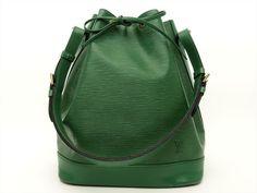 Louis Vuitton Authentic Epi Leather Green Noe Tote Shoulder Bag Auth LV Louis Vuitton Shoulder Bag, Green Bag, Bucket Bag, Handbags, Leather, Totes, Purse, Hand Bags, Women's Handbags