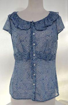 Ann taylor loft sz 8 cap sleeve flutter neckline semi sheer blouse
