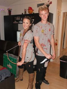 Can your love survive the hunger games (or at least a night of fighting over candy)? Dress up as Peeta and Katniss to find out!  Needed: red paint, matching shirts, weapons, boots and a will to survive. #halloween #couplescostumes