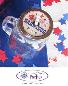 Handcrafted 4th of July mason jar by Piece of Cake Parties.  Buy 4th of July party supplies or a complete 4th of July party-in-a-box at http://pocparties.com/collections/all/fourth-of-july.