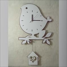 diy bird shaped wall clock   living room wall clock decoration rustic wall clock acrylic clock bird ... large (maybe hang word love letters have made) and put it on branch shelf thinking of making