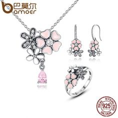100% 925 Sterling Silver Pink Flower Poetic Daisy Cherry Blossom Jewelry Set