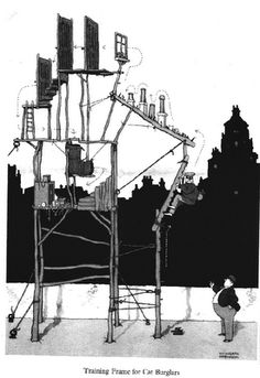 William Heath Robinson is a cartoonist from the first part of the XXth century who spent most of his time to invent complicated mechanical . Heath Robinson, Ink Pen Drawings, Art Model, Print Pictures, Vintage Prints, First World, Caricature, Inventions, Illustrators