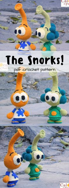 The Snorks!!! How cute are these?! Does anyone else even rennet these? Fun vintage crochet Amigurumi toy pattern to make! #etsy #ad