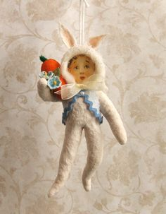 Spun cotton Easter ornament vintage style bunny by PlumPuppets, $25.00