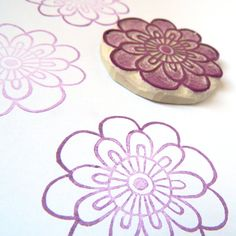 Whimsy Flower Art Stamp - a hand carved rubber stamp by Creatiate