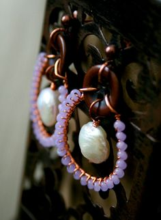 Lavender Purple White Pearl Copper Button Wire Wrapped Earrings