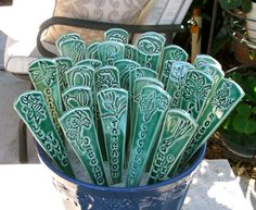 Three Ceramic Plant Markers,Handmade Herb and Vegetable Markers. $21.00, via Etsy.