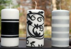 Decorating candles using tissue paper, wax paper, and a hair dryer. Decorating candles using tissue paper, wax paper, and a hair dryer. Custom Candles, Diy Candles, Decorating Candles, White Candles, Smelly Candles, Candle Decorations, Making Candles, Easy Paper Crafts, Fun Crafts