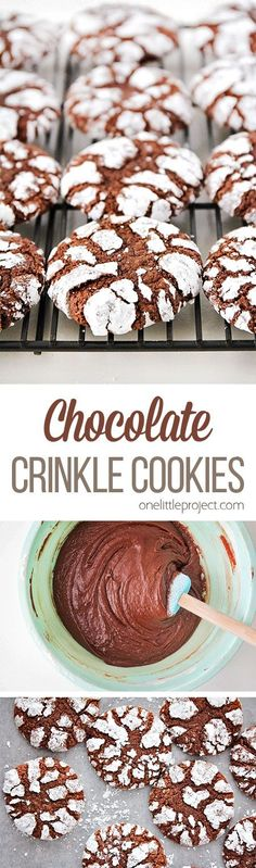 These chocolate crinkle cookies are DELICIOUS, so flavorful, and super easy to make! They're soft and rich almost like a cross between a brownie and a cookie. The perfect treat for any chocolate lover!
