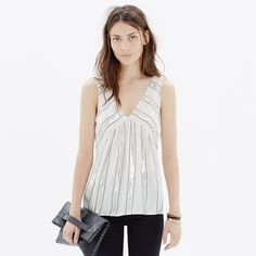 Madewell Dancefloor Tank in Stripe White and metallic striped viscose and silk tank. Whole in the seam on one side. Madewell Tops Tank Tops