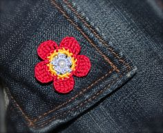 Crochet Flower Daisy Pin Red Yellow Light Blue by CatWomanCrafts, $6.00