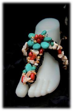 Linea coral, rojo turquesa y nacar. Sandalias de playa Pal'Mar
