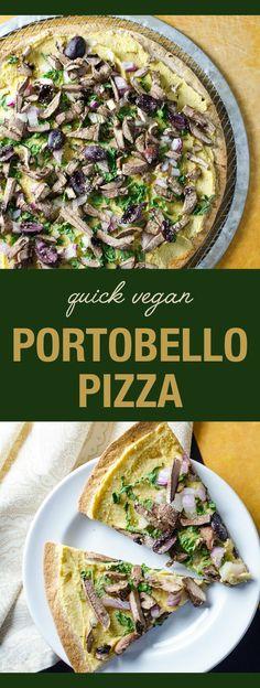 Quick Vegan Portobello Pizza - using a large tortilla as a pizza crust makes this pizza recipe a snap to prepare - use a gluten-free tortilla to make it gluten-free | VeggiePrimer.com