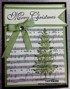 Stampin Up Lovely as A Tree Printed off music sheets from the computer, (can paste 4 onto a page), and stamped over top. Stampin Up Lovely as A Tree Printed off music sheets from the computer, (can paste 4 onto a page), and stamped over top. Homemade Christmas Cards, Christmas Cards To Make, Christmas Paper, Xmas Cards, Simple Christmas, Handmade Christmas, Homemade Cards, Holiday Cards, Christmas Cactus