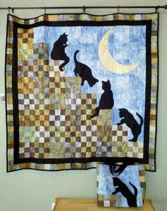 "LINK TO PDF FOR THE CATS.......""Cat Stairway to Heaven""   Free pattern from McCall's quilting Photo from 24 Blocks"