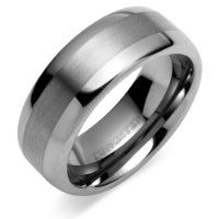 Revoni Rounded Edge Brush Finish 8mm Comfort Fit Mens Tungsten Carbide Wedding Band Ring from Revoni