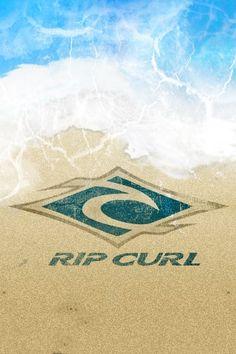 Rip Curl Logo sea water blue sand beach