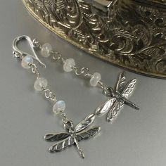 Any dragonfly lovers out there?  These beautiful sterling silver dragonfly rainbow moonstone earring are a dragonfly lovers dream.  BUY NOW http://jewelrybytali.com/products/dragonfly-moonstone-earrings-sterling-silver-dragonfly-earrings.