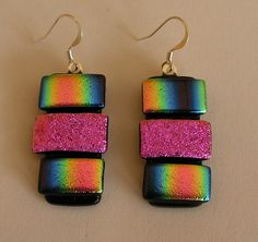 A lovely pair of Freeform Earrings bright colours and great design. Made in May 2015. Unique glass Art by Marion.