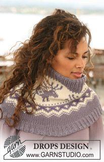 "Knitted DROPS neck warmer with reindeer pattern in ""Nepal"". Free pattern by DROPS Design. Crochet Patterns Amigurumi, Knitting Patterns Free, Free Knitting, Free Pattern, Knitting Charts, Drops Design, Nepal, Manga Raglan, Crochet Hat With Brim"