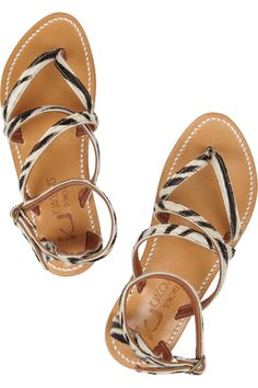 K Jacques St Tropez | Epicure multi-strap leather sandals | NET-A-PORTER.COM - I love anything zebra!!