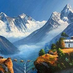 Mount Everest Sunrise View From Tengboche Nepal Original Painting Mount Everest Deaths, Mount Everest Base Camp, Nepal Mount Everest, Monte Everest, Mount Everest Climbers, World Famous Painters, Nepal Art, Himalayan, Frames