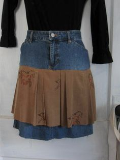Upcycled unique recycled denim skirt with equistrain by HappyRagz