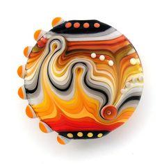 Fire stripes - Lampwork handmade glass bead. Focal lentil (1)FREE WORLDWIDE SHIPPING. $40.00, via Etsy.