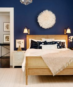From rich navy to soft gray, these are the colors /theexchange/ says will be trending in home design during decor blue bedroom Bedroom Paint Color Trends for 2017 Navy Blue Bedrooms, Blue Bedroom Decor, Home Bedroom, Indigo Bedroom, Bedroom Neutral, Indigo Walls, Master Bedrooms, Blue Master Bedroom, Guest Bedrooms