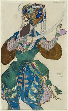 """This Drawing was made in 1910 by Leon Bakst, Costume designer for the """"ballet Russes"""" in Paris during . Theatre Costumes, Ballet Costumes, Léon Bakst, Ivan Bilibin, Art Deco, Art Nouveau, Mobile Art, Russian Art, Russian Ballet"""