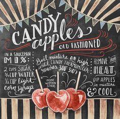 Candy Apple Bars, Candy Apples, Chalkboard Designs, Chalkboard Art, Lily And Val, Chalk Lettering, Apple Harvest, Harvest Season, Recipe Boards
