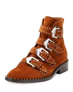 X3D2U Givenchy Elegant Studded Suede Ankle Boot, Caramel