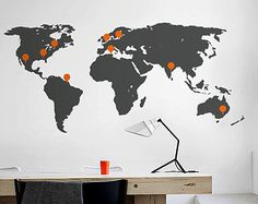 Large Vinyl wall World map decal - Removable Detailed World map mural wall sticker - World Map Sticker, World Map Wall Decal, World Map Wall Art, Wall Decals, Detailed World Map, School Murals, Good Job, Guy, Signs