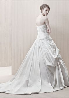 Ruched Bodice A-Line Style with Applique Accents Pick-up Skirt Lucky Wedding Dress