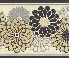 wallpaper border waverly modern black grey beige floral on cream - Kitchen Wallpaper Borders Ideas